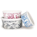 Toile Dog Food Bowls